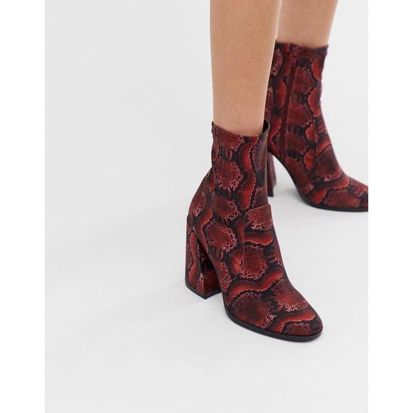 エイソス レディース ブーツ&レインブーツ シューズ ASOS DESIGN Ellan heeled sock boots in snake Snake