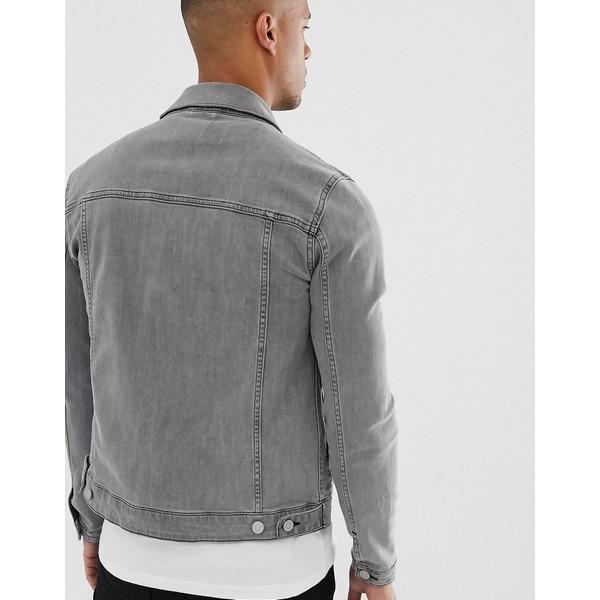エイソス メンズ ジャケット&ブルゾン アウター ASOS DESIGN skinny western denim jacket in gray Gray