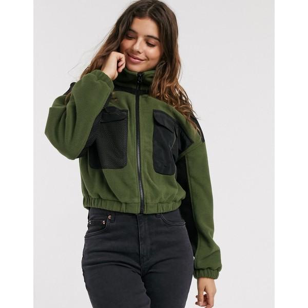 エイソス レディース ジャケット&ブルゾン アウター ASOS DESIGN fleece paneled zip through jacket in khaki Black / khaki