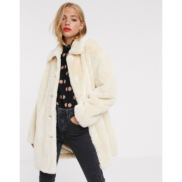 エイソス レディース コート アウター ASOS DESIGN faux fur button through coat in cream Cream