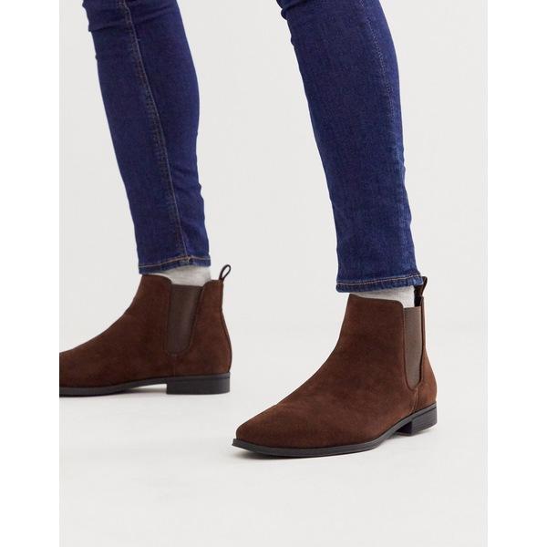 エイソス メンズ ブーツ&レインブーツ シューズ ASOS DESIGN chelsea boots in brown faux suede Brown
