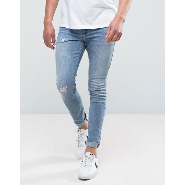 エイソス メンズ デニムパンツ ボトムス ASOS DESIGN super skinny jeans in mid wash blue with abrasions Mid wash blue