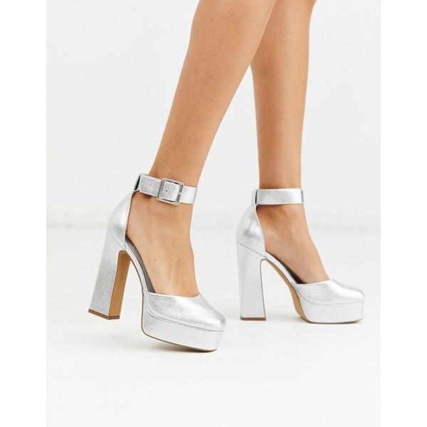 エイソス レディース ヒール シューズ ASOS DESIGN Presta square high heels in silver Silver