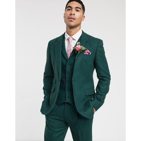 エイソス メンズ ジャケット&ブルゾン アウター ASOS DESIGN wedding slim suit jacket in wool mix texture in green Green
