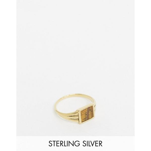 エイソス メンズ アクセサリー リング Gold 全商品無料サイズ交換 エイソス メンズ リング アクセサリー ASOS DESIGN sterling silver pinky ring in 14k gold plate with semi precious stone Gold