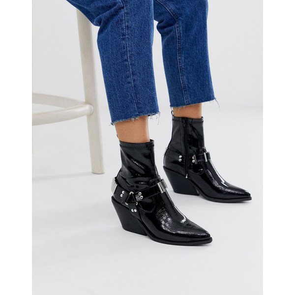 エイソス レディース ブーツ&レインブーツ シューズ ASOS DESIGN Ritchie western harness sock boots in black patent Black patent