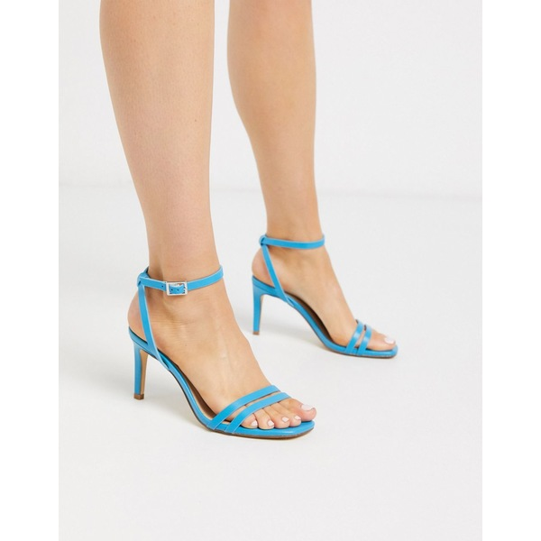 トゥラッフル レディース サンダル シューズ Truffle Collection square toe strappy heeled sandals in blue Blue