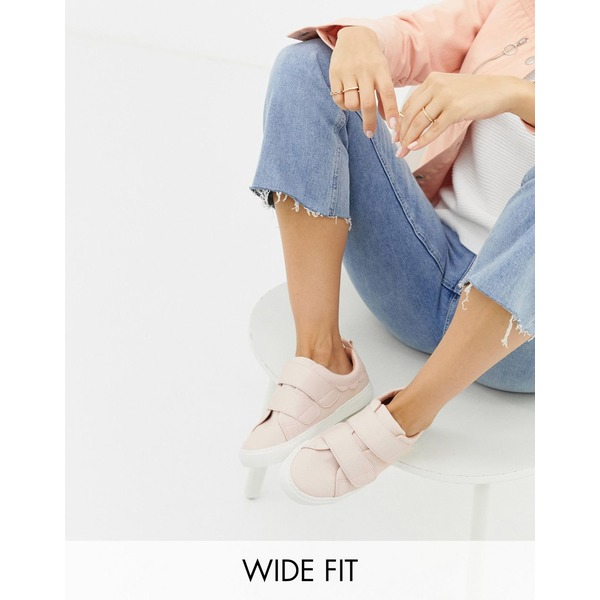 エイソス レディース スニーカー シューズ ASOS DESIGN Wide Fit Vitamin strap sneakers Pink