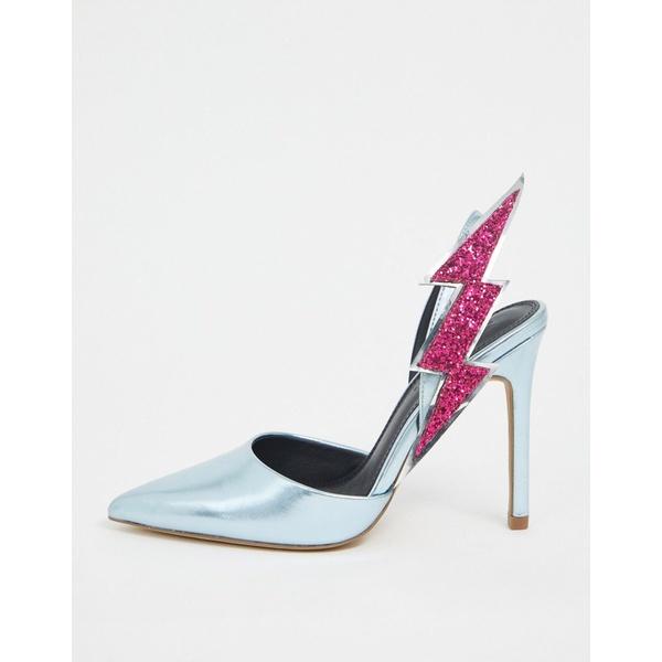 エイソス レディース ヒール シューズ ASOS DESIGN Pick Up lightning bolt slingback heels in blue metallic Blue metallic