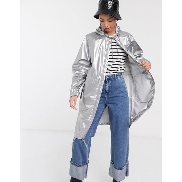 レインズ レディース ジャケット&ブルゾン アウター Rains long wind jacket Silver