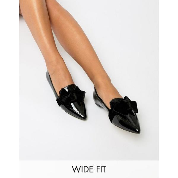 エイソス レディース サンダル シューズ ASOS DESIGN Wide Fit Ludo ballet flats loafers Black patent