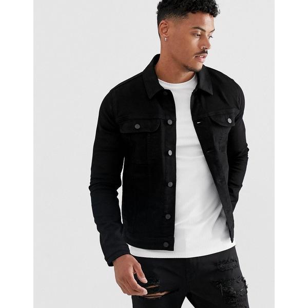 エイソス メンズ ジャケット&ブルゾン アウター ASOS DESIGN skinny western denim jacket in black Black