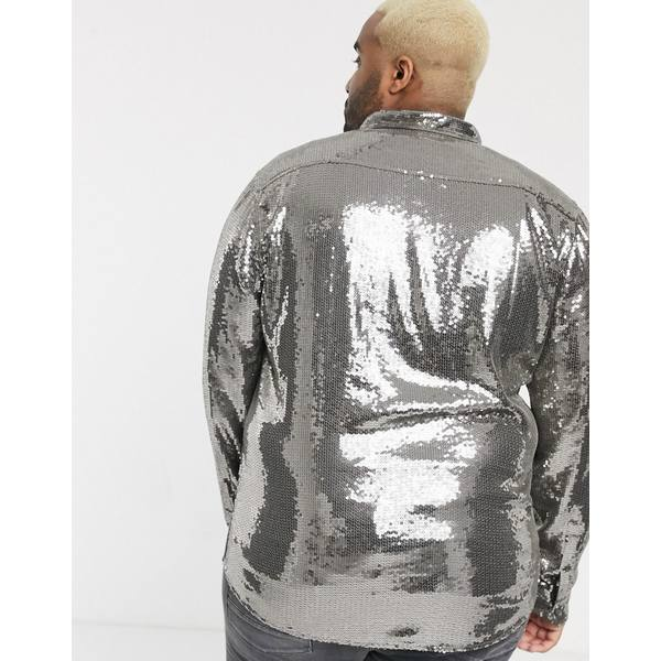エイソス メンズ シャツ トップス ASOS DESIGN Plus regular fit glitzy sequin shirt in gray Gray