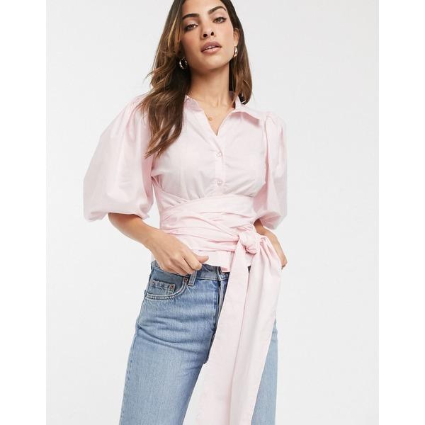 エイソス レディース シャツ トップス ASOS DESIGN cotton shirt with puff sleeve and wrap around belt Pink
