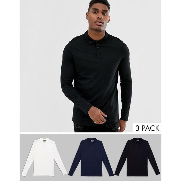 エイソス メンズ ポロシャツ トップス ASOS DESIGN 3 pack organic long sleeve jersey polo save White/black/navy