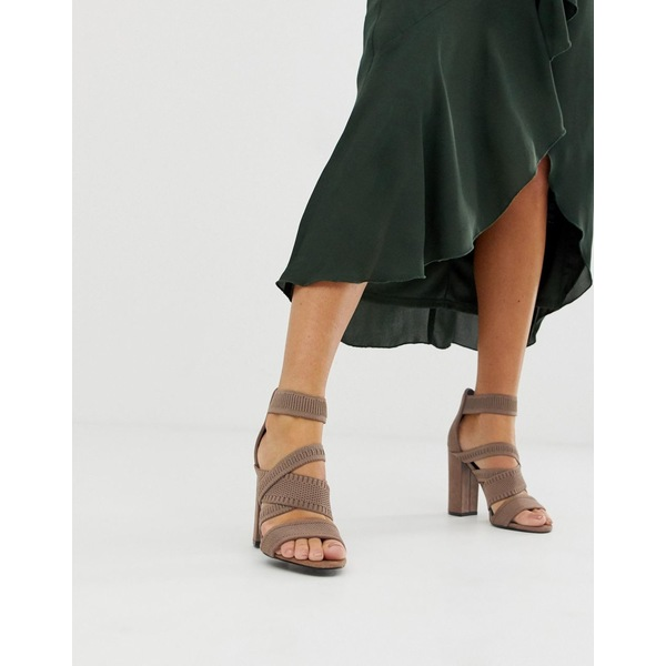 エイソス レディース ヒール シューズ ASOS DESIGN Harlow knitted heeled sandals Taupe