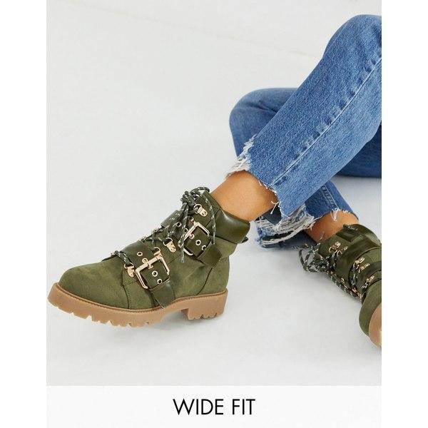 エイソス レディース ブーツ&レインブーツ シューズ ASOS DESIGN Wide Fit Avenue hiker boots in khaki Khaki