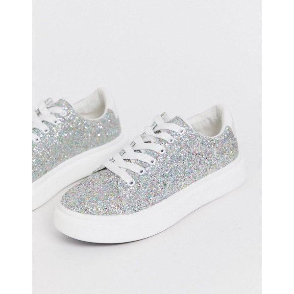 エイソス レディース スニーカー シューズ ASOS DESIGN Doro chunky lace up sneakers in glitter Glitter