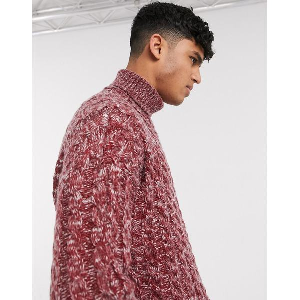エイソス メンズ ニット&セーター アウター ASOS DESIGN oversized cable knit sweater in burgundy twist Burgundy
