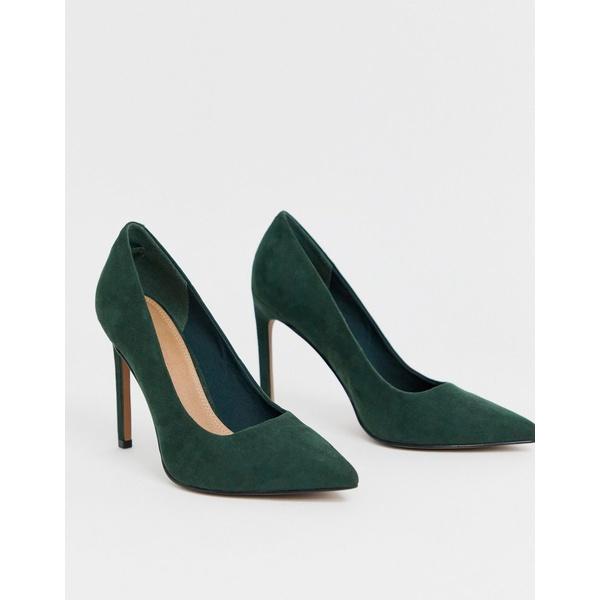 エイソス レディース ヒール シューズ ASOS DESIGN Porto pointed high heeled pumps in forest green Forest green