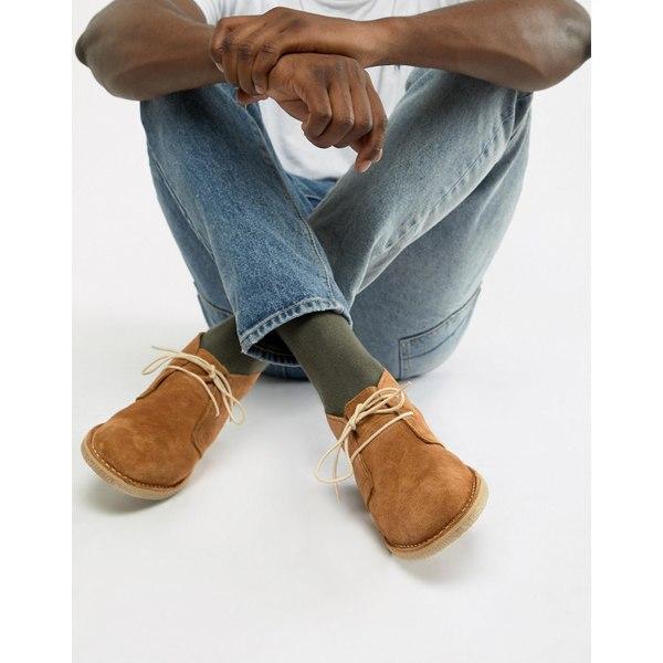 エイソス メンズ ブーツ&レインブーツ シューズ ASOS DESIGN desert boots in tan suede Tan