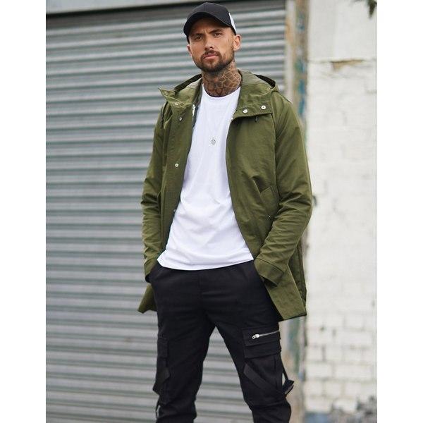 エイソス メンズ コート アウター ASOS DESIGN parka jacket with detachable vest liner in khaki Khaki