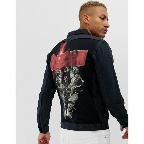 レリジョン メンズ ジャケット&ブルゾン アウター Religion Fanatic back print denim jacket Graphite
