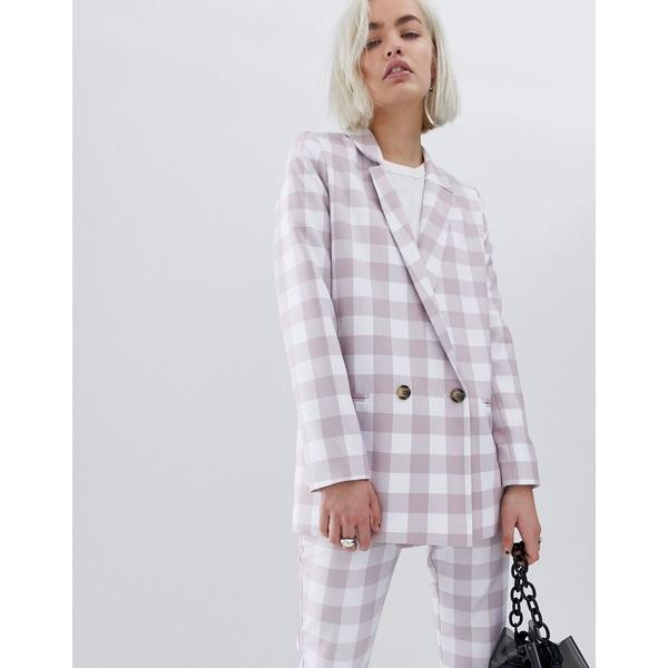 エイソス レディース ジャケット&ブルゾン アウター ASOS DESIGN large gingham suit blazer Check