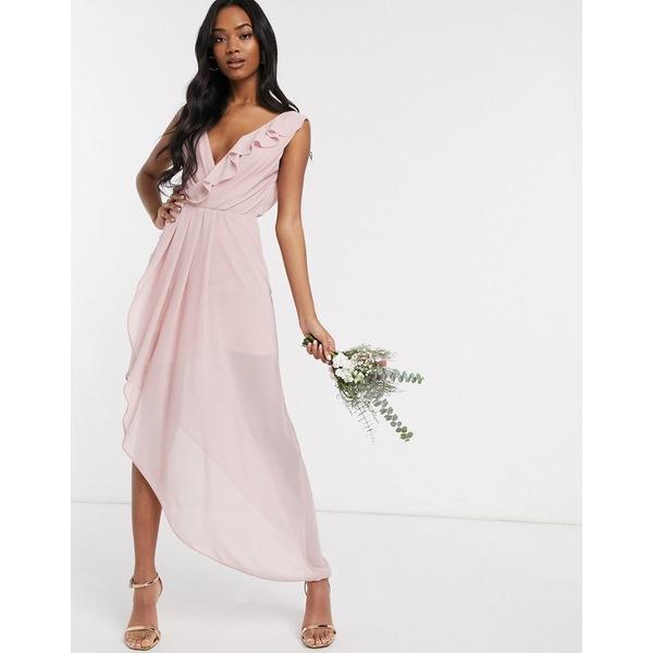 ティエフエヌシー レディース トップス ワンピース Pink 全商品無料サイズ交換 ティエフエヌシー レディース ワンピース トップス TFNC Bridesmaid midi wrap frilly dress in pink Pink