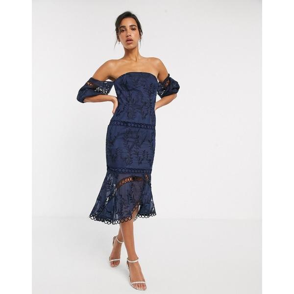 エイソス レディース ワンピース トップス ASOS DESIGN structured embroidered bandeau midi dress with circle trim detail Navy