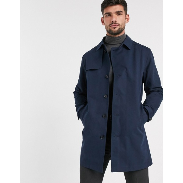 セレクテッドオム メンズ コート アウター Selected Homme cotton trench coat in navy Dark sapphire
