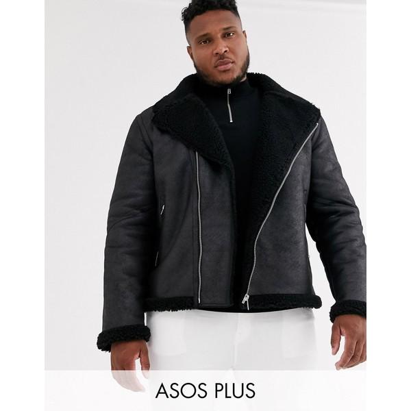 エイソス メンズ ジャケット&ブルゾン アウター ASOS DESIGN Plus faux shearling biker jacket with teddy lining in black Black