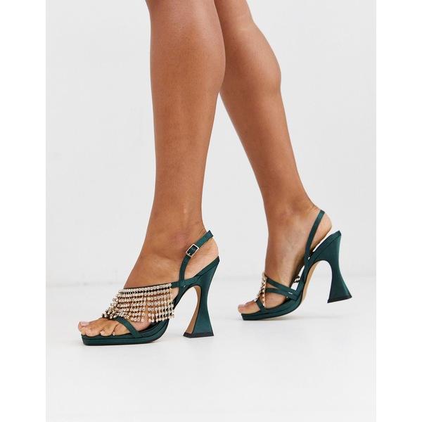 エイソス レディース ヒール シューズ ASOS DESIGN North embellished heeled sandals in green Green