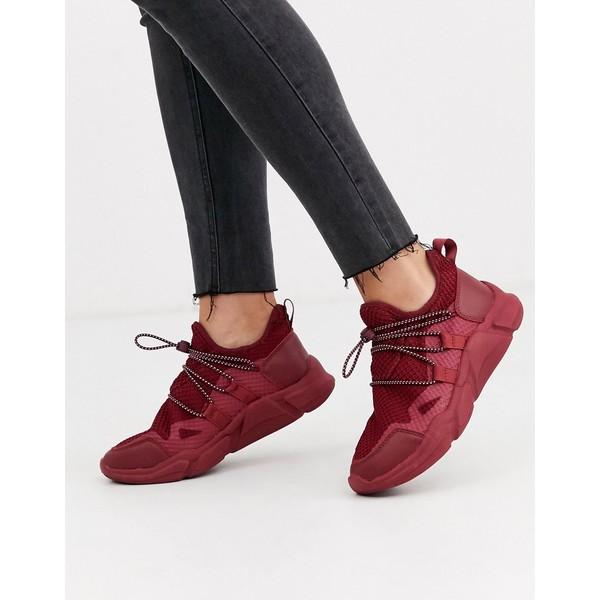 エイソス レディース スニーカー シューズ ASOS DESIGN Division knitted sneakers in burgundy Burgundy