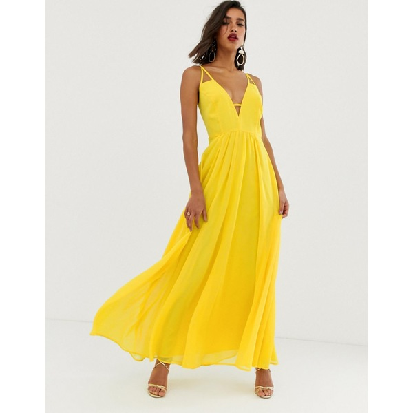 エイソス レディース ワンピース トップス ASOS DESIGN maxi dress with cami straps and cut out detail Yellow