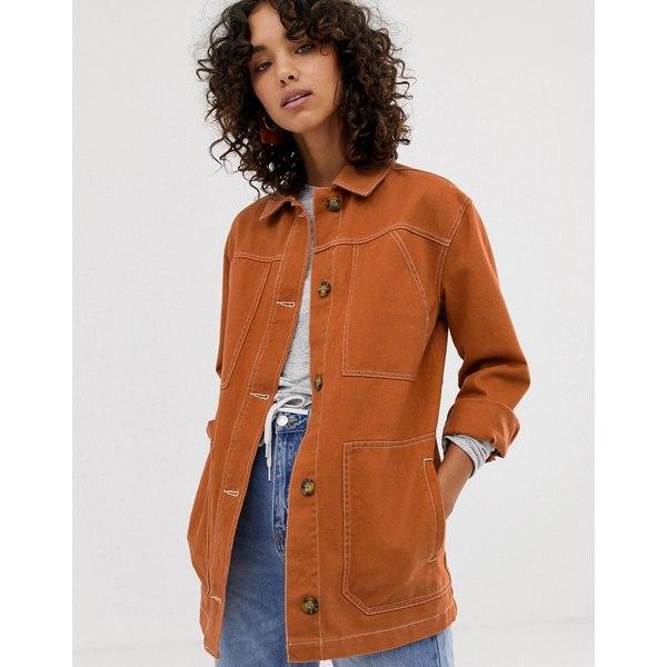 エイソス レディース ジャケット&ブルゾン アウター ASOS DESIGN contrast stitch cotton jacket Conker