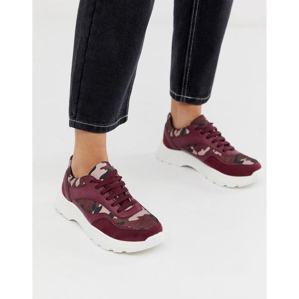 エイソス レディース スニーカー シューズ ASOS DESIGN Daliah chunky sneakers in burgundy camo Burgundy camo