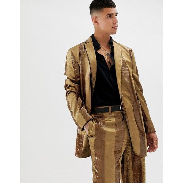 エイソス メンズ ジャケット&ブルゾン アウター ASOS DESIGN oversized suit jacket in tonal velvet mustard stripe Mustard