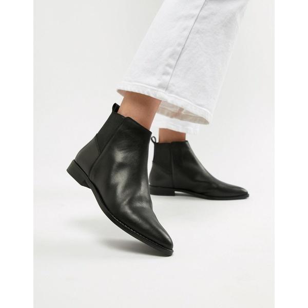 エイソス レディース ブーツ&レインブーツ シューズ ASOS DESIGN Atom leather chelsea boots Black leather