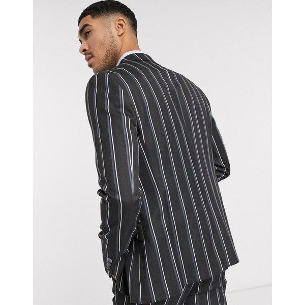 エイソス メンズ ジャケット&ブルゾン アウター ASOS DESIGN skinny suit jacket in bold stripe in gray Gray