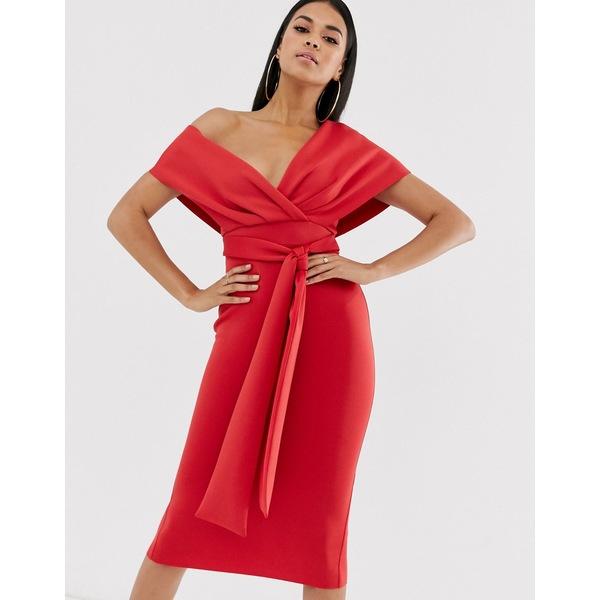 エイソス レディース ワンピース トップス ASOS DESIGN fallen shoulder midi pencil dress with tie detail Rococo red