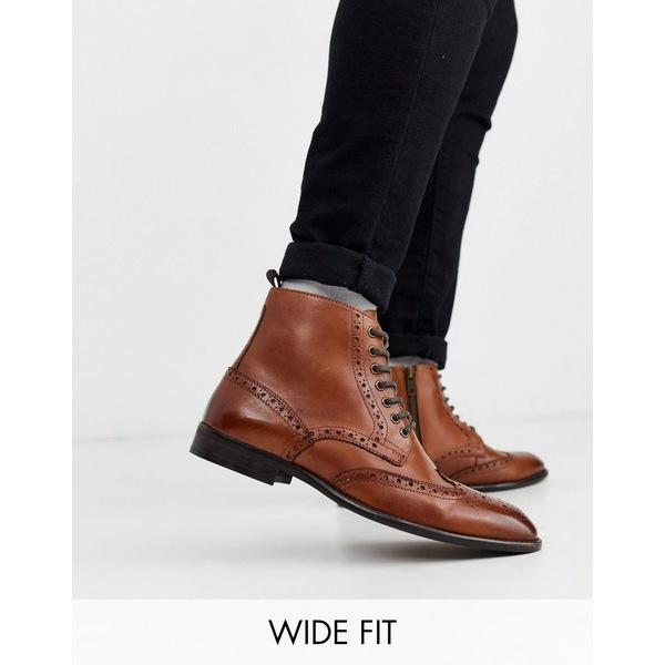エイソス メンズ ブーツ&レインブーツ シューズ ASOS DESIGN Wide Fit brogue boots in tan leather with natural sole Tan