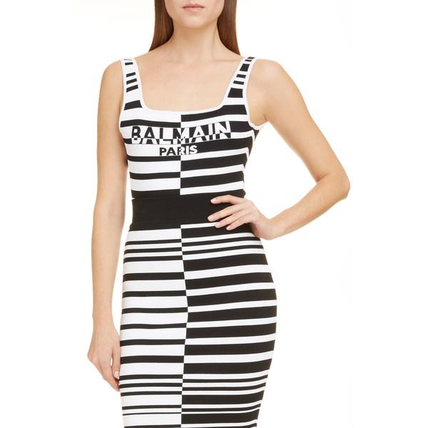 バルマン レディース カットソー トップス Logo Stripe Jacquard Bodysuit Eab Noir/ Blanc