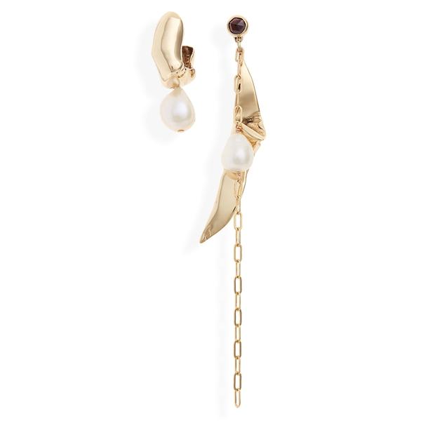 ファリス レディース ピアス&イヤリング アクセサリー Bait Mismatched Earrings Bronze/ Pearl