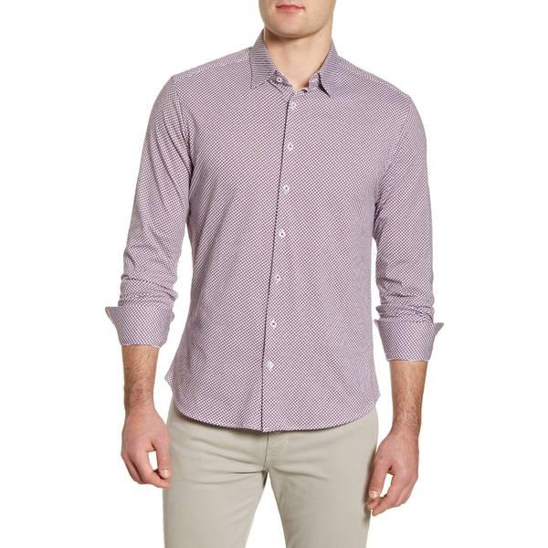 ストーンローズ メンズ シャツ トップス Slim Fit Button-Up Performance Knit Shirt Berry