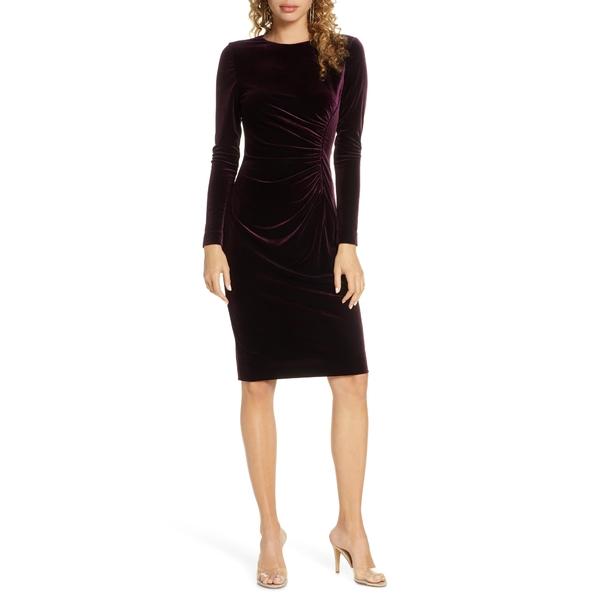 ハーパーローズ レディース ワンピース トップス Long Sleeve Ruched Velvet Dress Wine