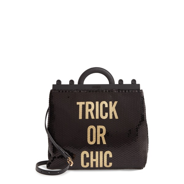 モスキーノ レディース ショルダーバッグ バッグ Trick or Chic Sequin Shoulder Bag Fantasy Print Black