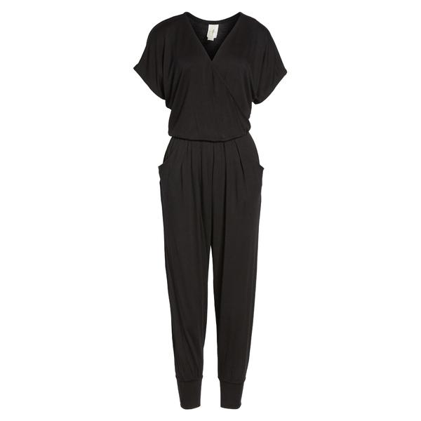 ロベアペラ レディース ワンピース トップス Short Sleeve Wrap Top Jumpsuit Black