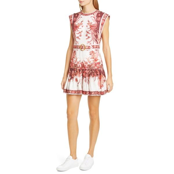 ジマーマン レディース ワンピース トップス Wavelength Floral Linen Minidress Red Phoenix