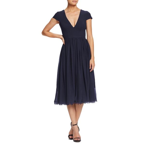 ドレスザポプレーション レディース ワンピース トップス Corey Chiffon Fit & Flare Cocktail Dress Midnight Blue